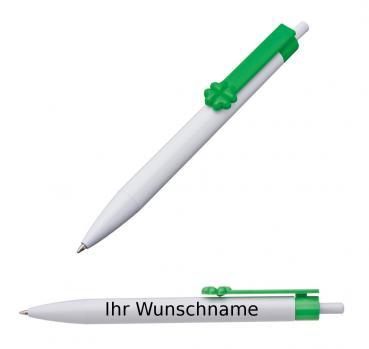 10 Touchpen Kugelschreiber mit Gravur mit weißem LED Licht Farbe grün