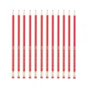 100 Bleistifte mit Radierer ohne Herstellerlogo Farbe lackiert rot HB