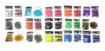 Loom Gummibänder 12x 200 2400 120 Verbindungsstücke // 8 neon Farben