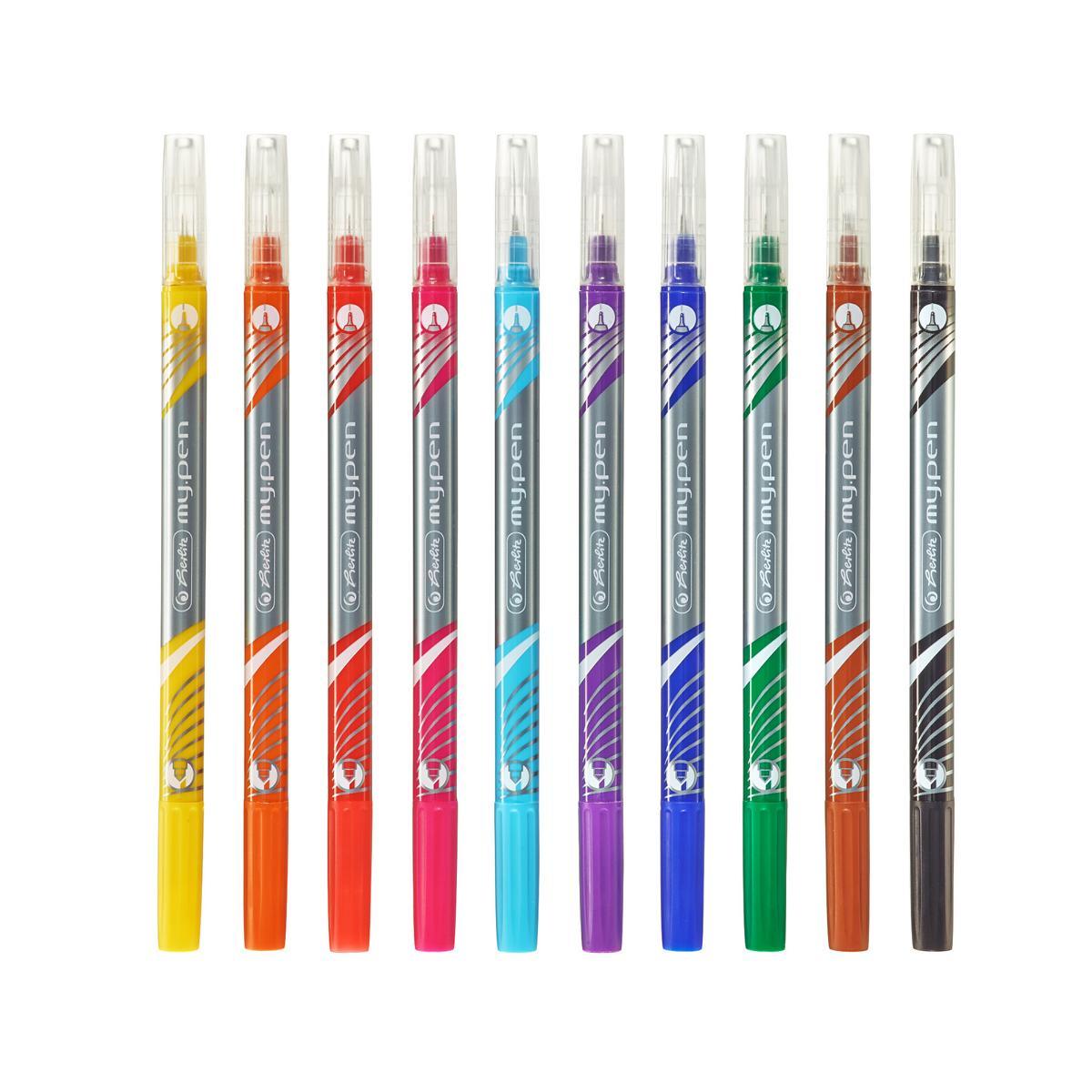 10 verschiedene Farben 10 Herlitz Fineliner-Faserschreiber my.pen 2 Spitzen
