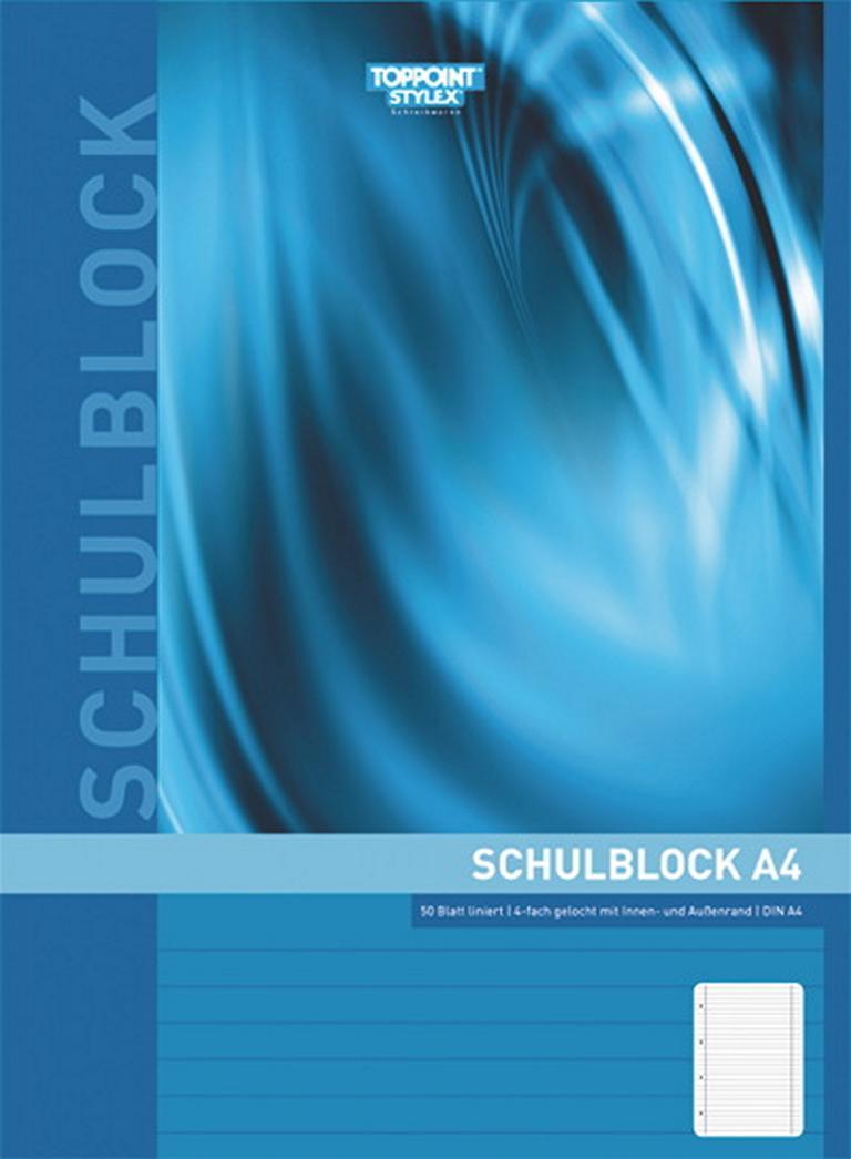 Schulblock Toppoint A4 blanko 50Blatt gelocht 1 Stück