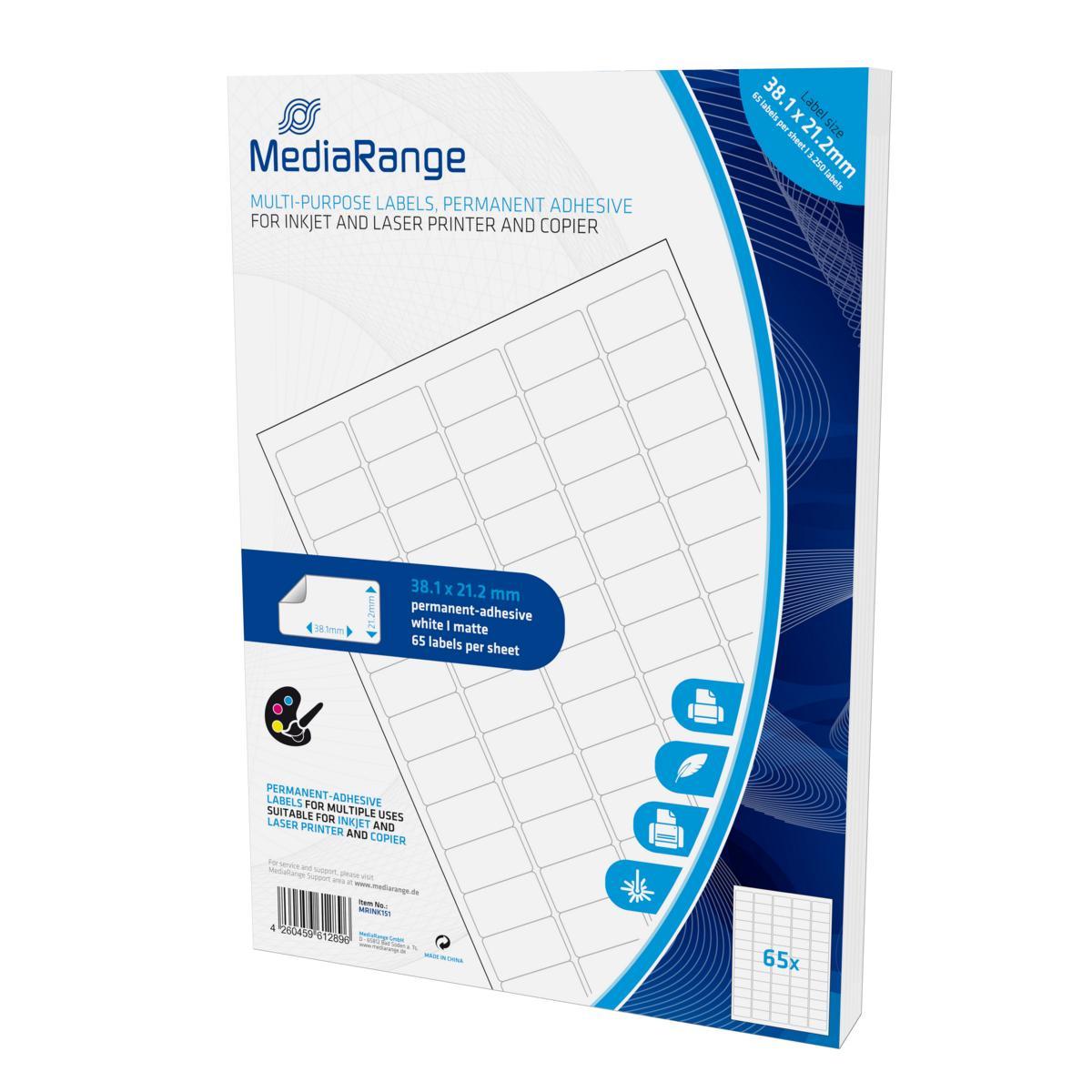 30.1 x 21.2mm 3250 MediaRange Etiketten Größe 50 Blatt DIN A4