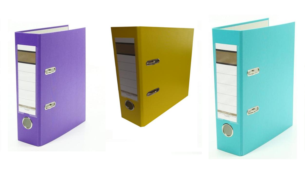 DIN A5 je 1x gelb 75mm Farbe 3x Ordner lila und türkis