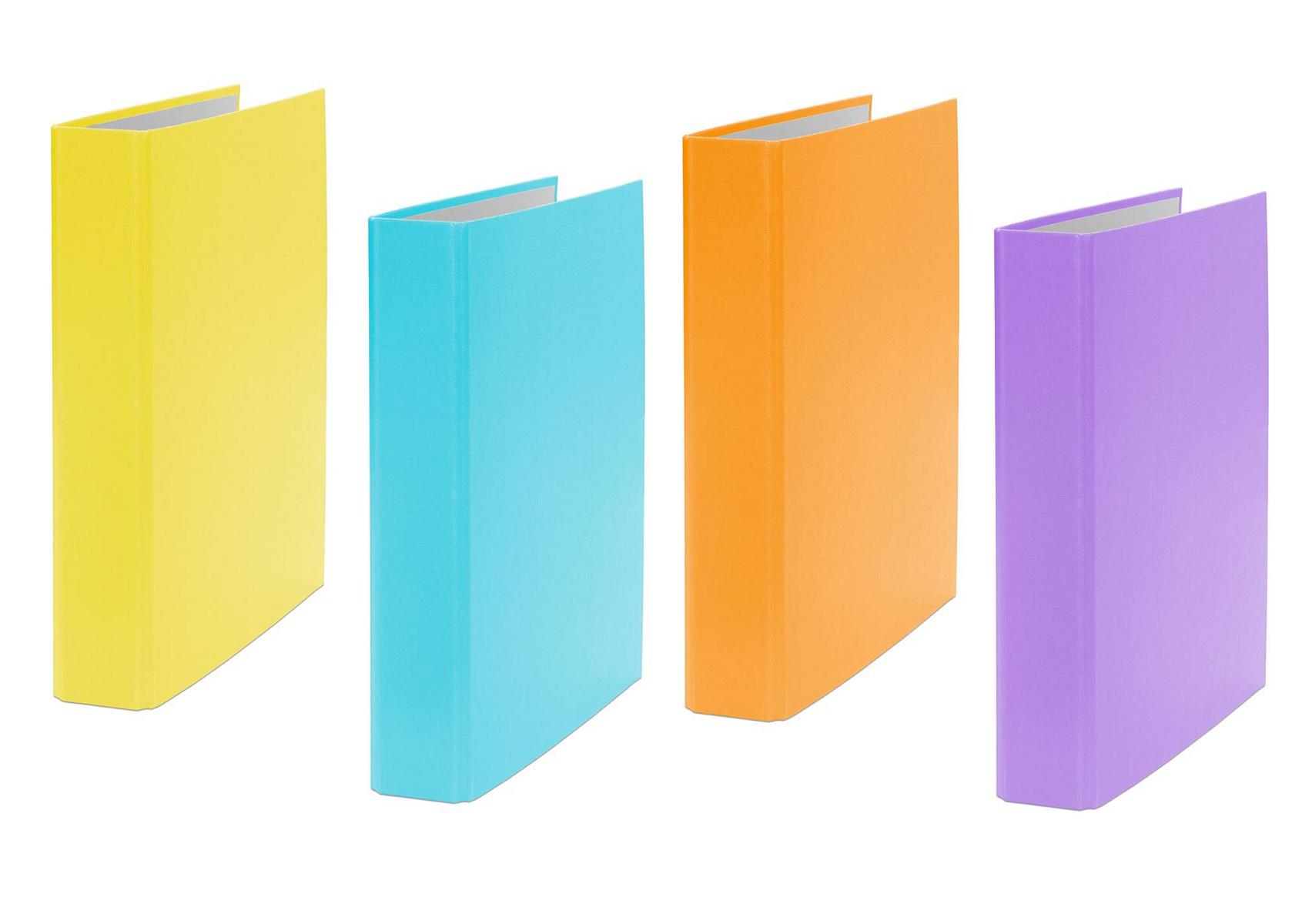 livepac office 4x ringbuch din a5 2 ring ordner je 1x orange gelb t rkis und lila. Black Bedroom Furniture Sets. Home Design Ideas