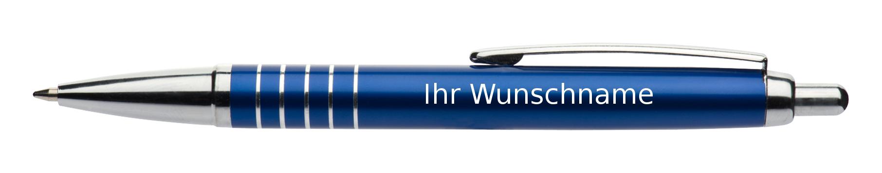 mit 5 Zierringen Farbe aus Aluminium Kugelschreiber mit Gravur blau