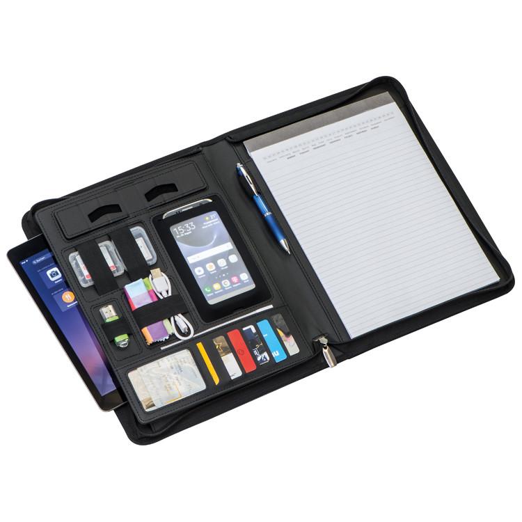 Schreibmappe mit Reißverschluss aus hochwertigem Lederfaserstoff DIN A4