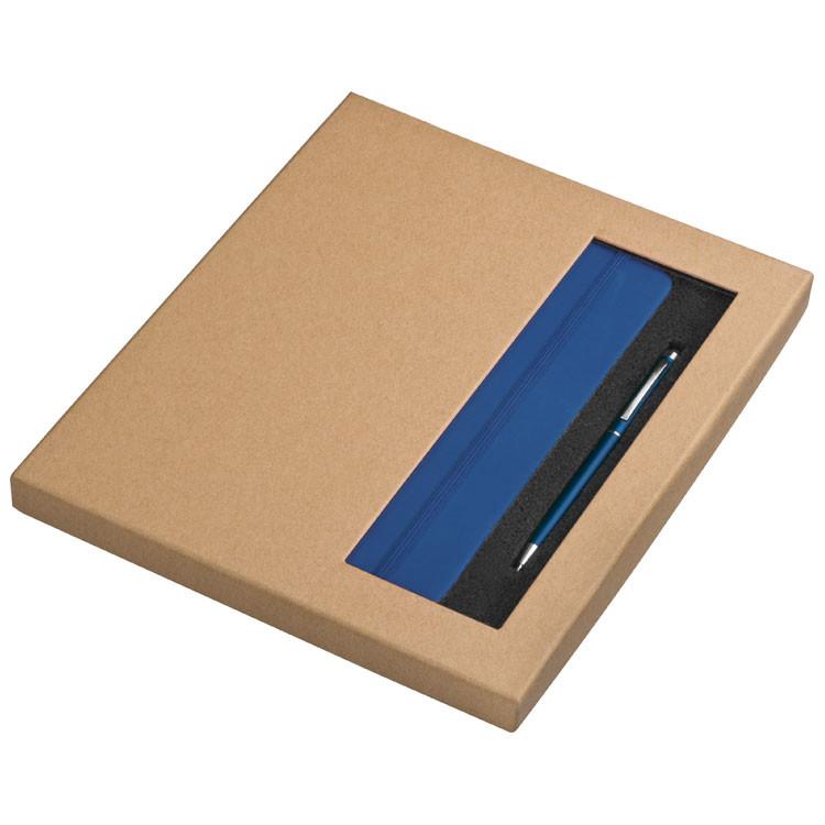 blau Schreibset 2-tlg // Touchpen Kugelschreiber und Notizbuch DIN A5 Farbe