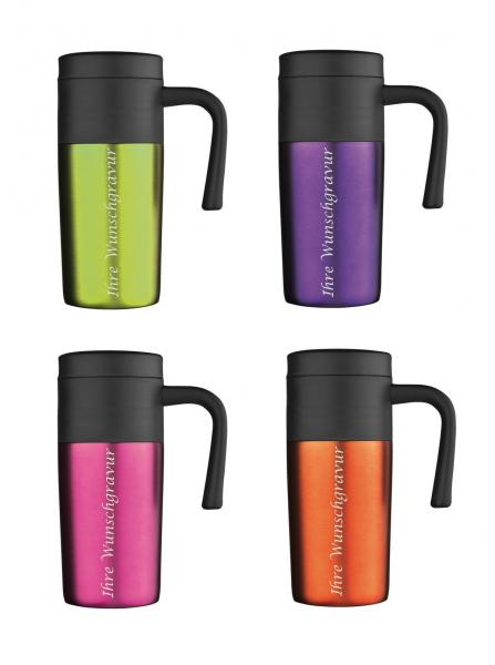4x Thermobecher mit Gravur / Isolierbecher / je 1x lila,orange,apfelgrün,pink